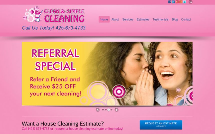 Website Samples by Online Marketing Muscle - Clean and Simple Cleaning