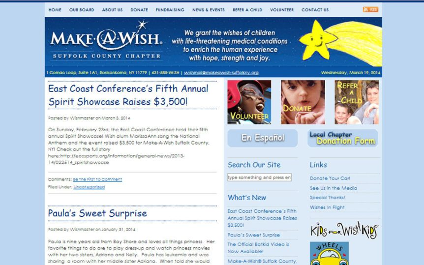 Website Samples by Online Marketing Muscle - Make-a-Wish Foundation