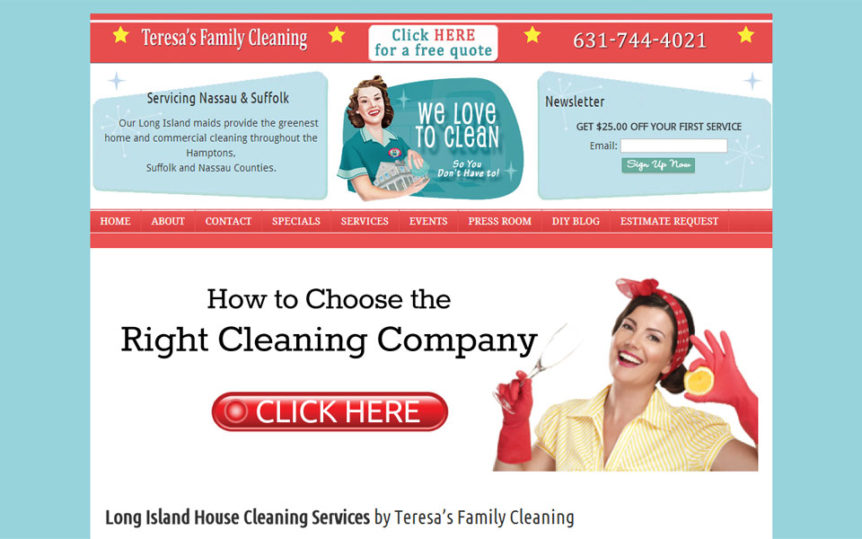 Website Samples by Online Marketing Muscle - Teresa's Family Cleaning